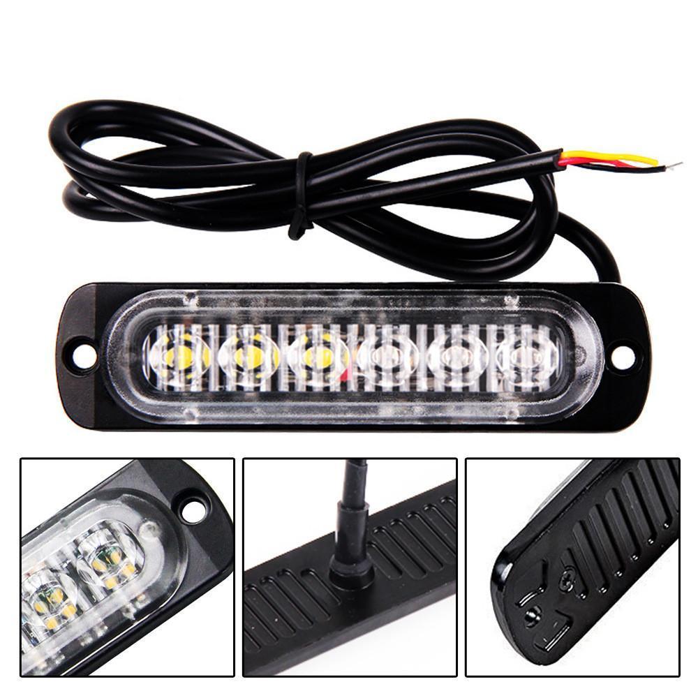 1pc 12 / 24V 6-LED 자동차 트럭 긴급 경고 LED 스트로브 플래시 라이트 위험 운전 점멸 DayLight Bar 경찰 소방관