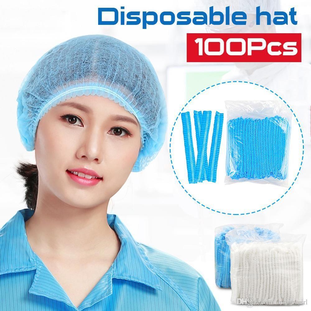 100 stks wegwerp haar douche caps petten PVC geplooid anti stof hoed hotel salon benodigdheden set blauw witte douchekappen FY4024