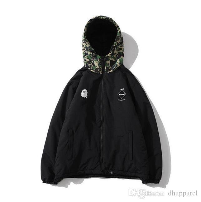 Cappello Nero Verde Camo Splice Spesso Zipper Jacket Adolescente Hip Hop di baseball giacca dell'uniforme autunno degli uomini di inverno
