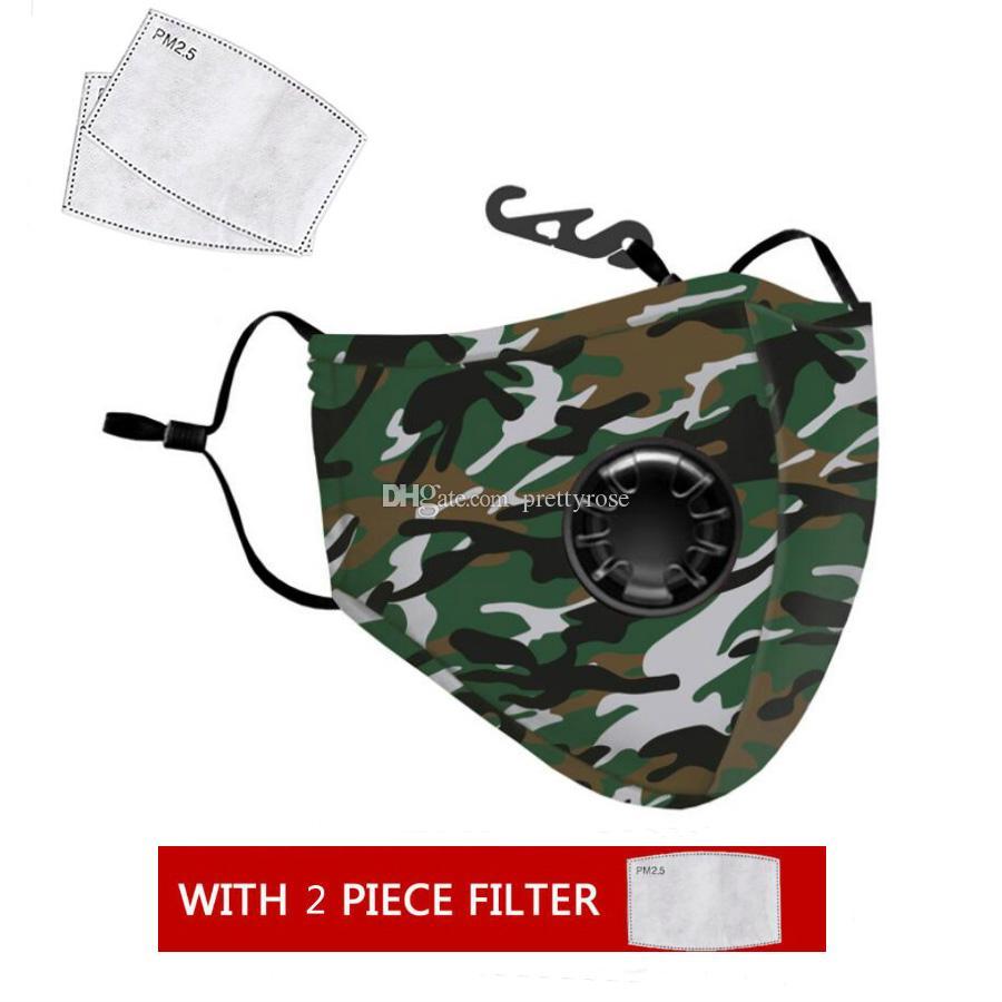 máscara de polvo Anti-niebla con humo hombres y mujeres Leopard camuflaje Máscara de respiración de la válvula de reemplazo lavable punto de máscara de filtro