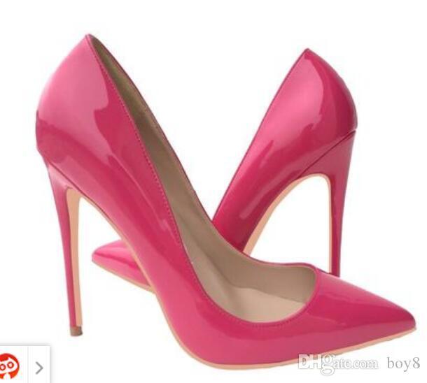 Las nuevas mujeres del diseñador de lujo zapatos rojos de tacón alto inferiores 8 cm 10 cm 12 cm azul negro rojo dedos apuntando únicas bombas de la boda del talón de estilete