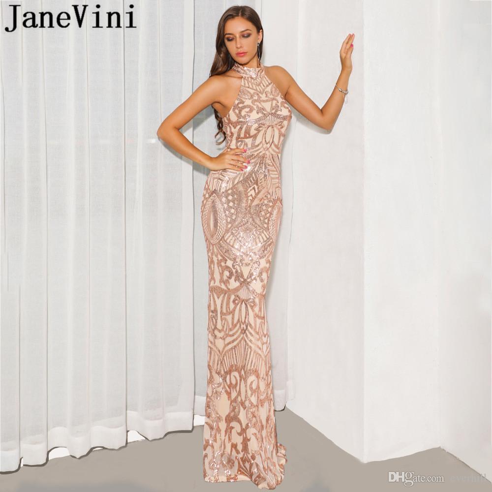 JaneVini Abito in oro rosa Abiti lunghi da ballo Halter in paillettes Elegante abito da sirena con tappeto rosso Abito da sera sexy senza schienale 2019