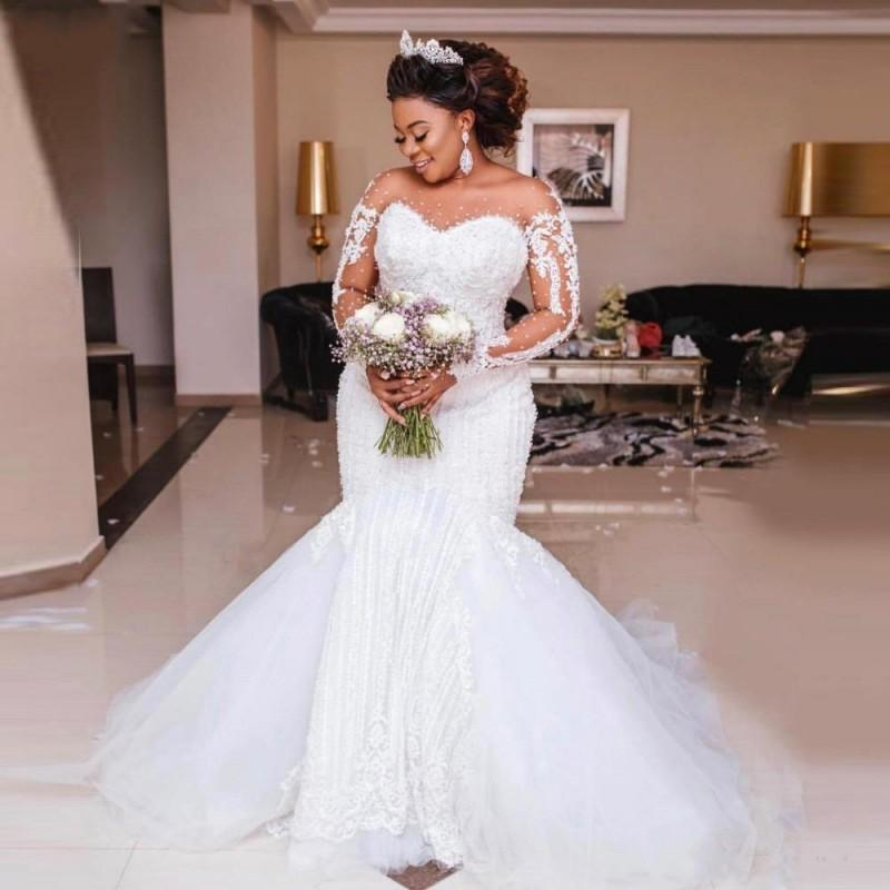 2020 Luxury Major Beading Mermaid Wedding Dresses Long Sleeve Appliques Pearls African Wedding Gowns Plus Size Vestido de noiva