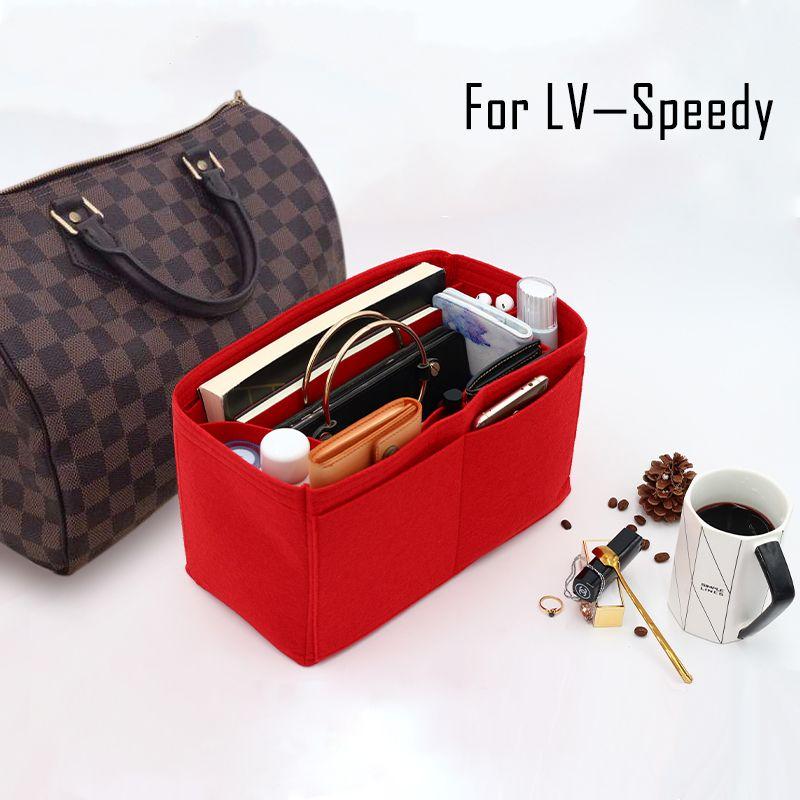 For Speedy 25 30 35 Felt Insert Bag Women Insert Organizer Handbag Organizer With Pockets For Cosmetics Makeup Bag Organizers Y19052501