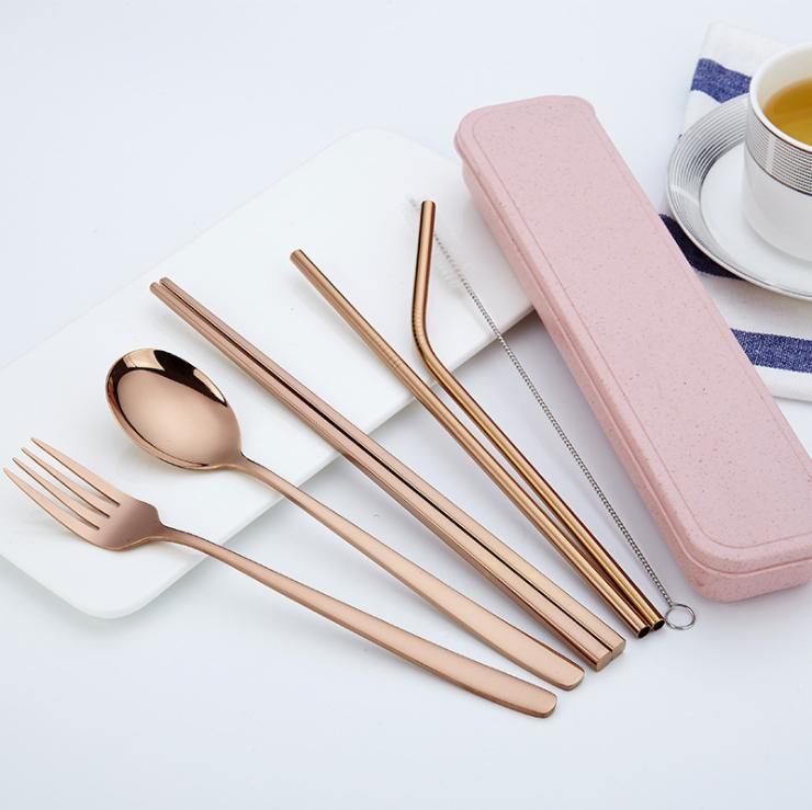 paja al aire libre juego de vajilla portable de 304 palillos de la cuchara de acero inoxidable del vajilla del conjunto de colores cubiertos de paja