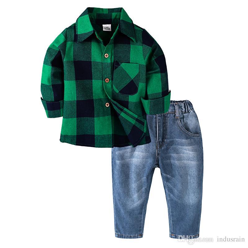 2019 Sonbahar Bahar Çocuk Giyim Seti Erkek Giyim Setleri çocuk Moda Yeşil Ekose Elbise Erkek Giysileri Bebek 2 adet Çoc ...
