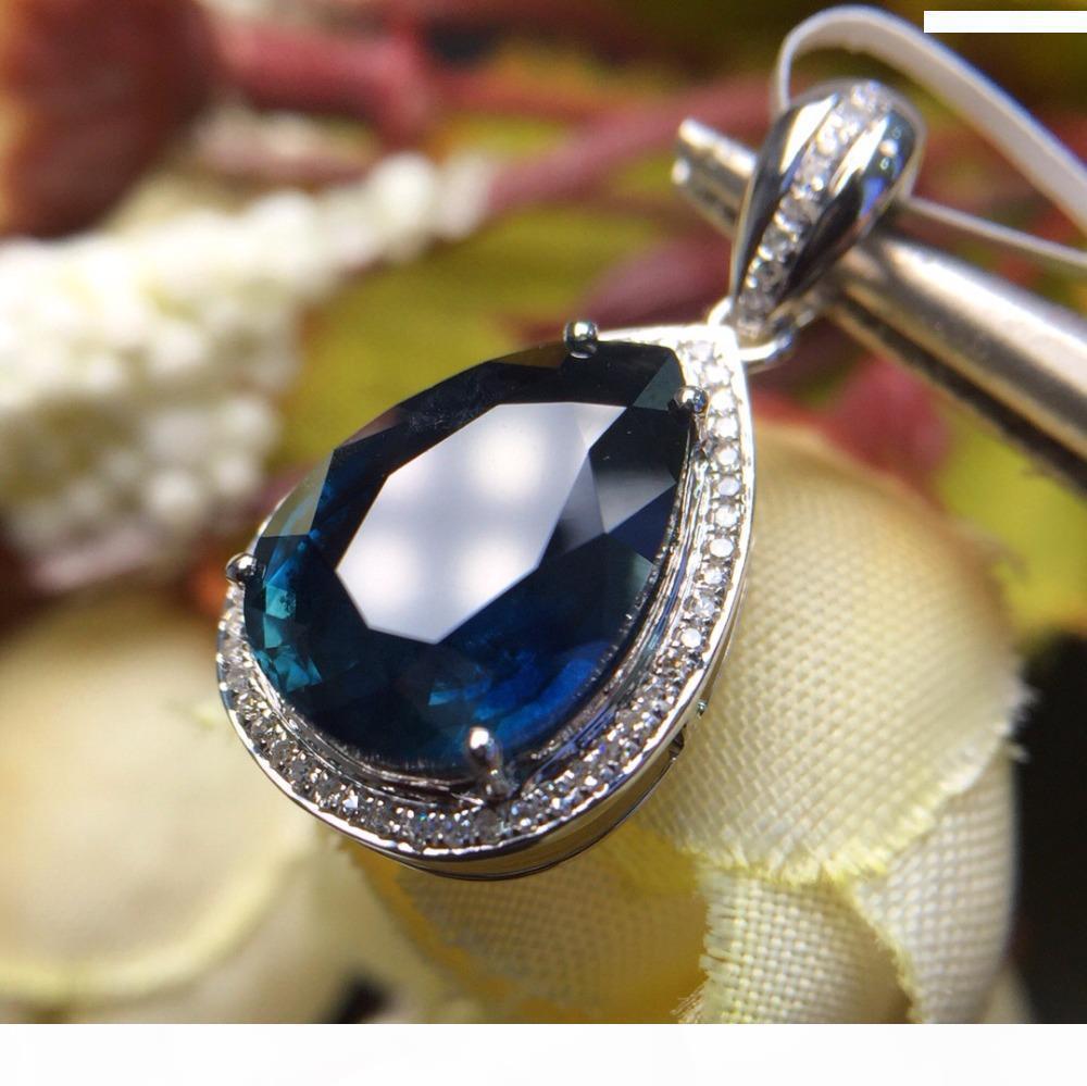 Fine Jewelry real 18K White Gold Au750 100% Natural azuis marinhos Sapphire gemas pingentes para as Mulheres Colar