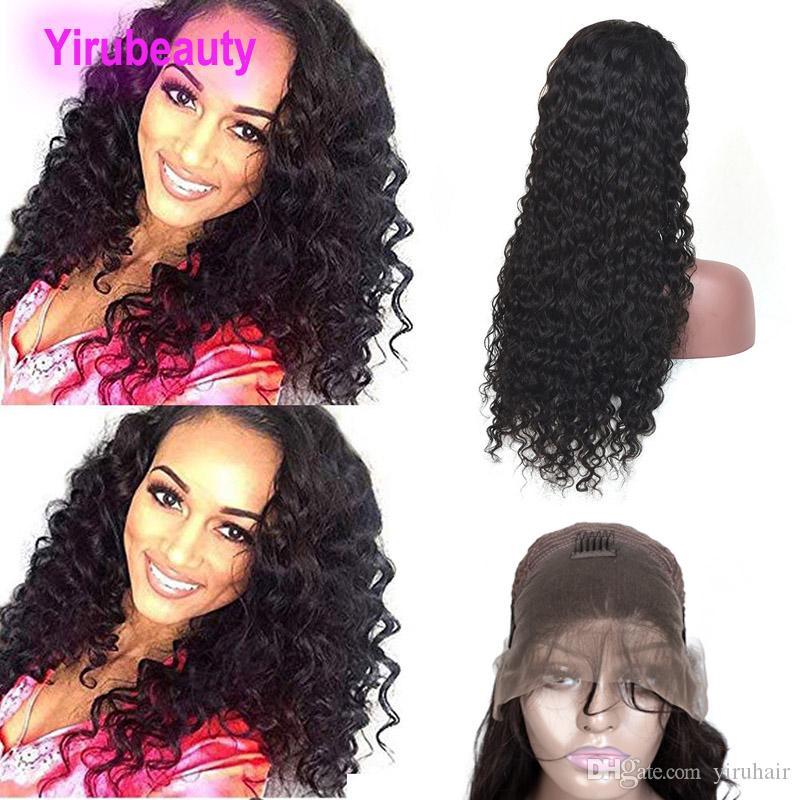 Malaisien cheveux humains 13x4 dentelle avant perruques frontales mouillées et ondulées 10-30inch vague d'eau couleur naturelle pré-cueilli bande réglable bande vierge cheveux