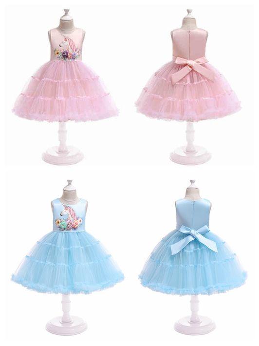 Children unicorn dress with flower cake layer sleeveless baby girl tutu skirts kids costume cosplay dress for halloween christmas