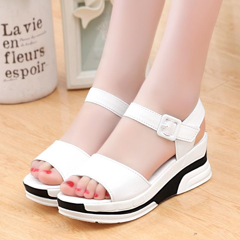 Kadınlar Siyah Beyaz Mix Renk Deri Yaz Ayakkabı için Rimocy Kama Sandalet Kadın Casual Platformu Bilek Kayışı Sandalias Mujer 2020