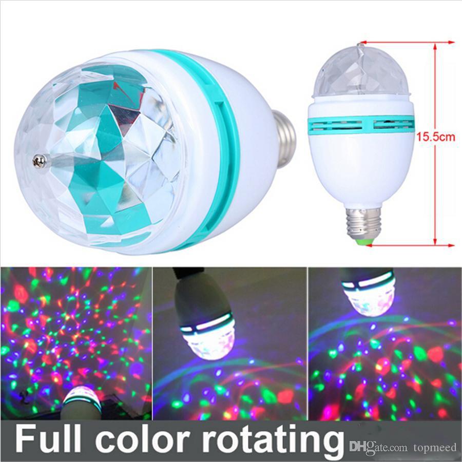 3W E27 RGB 전구 점화 풀 컬러 LED 수정 같은 단계 빛 자동 자전 무대 효과 DJ 램프 소형 단계 빛