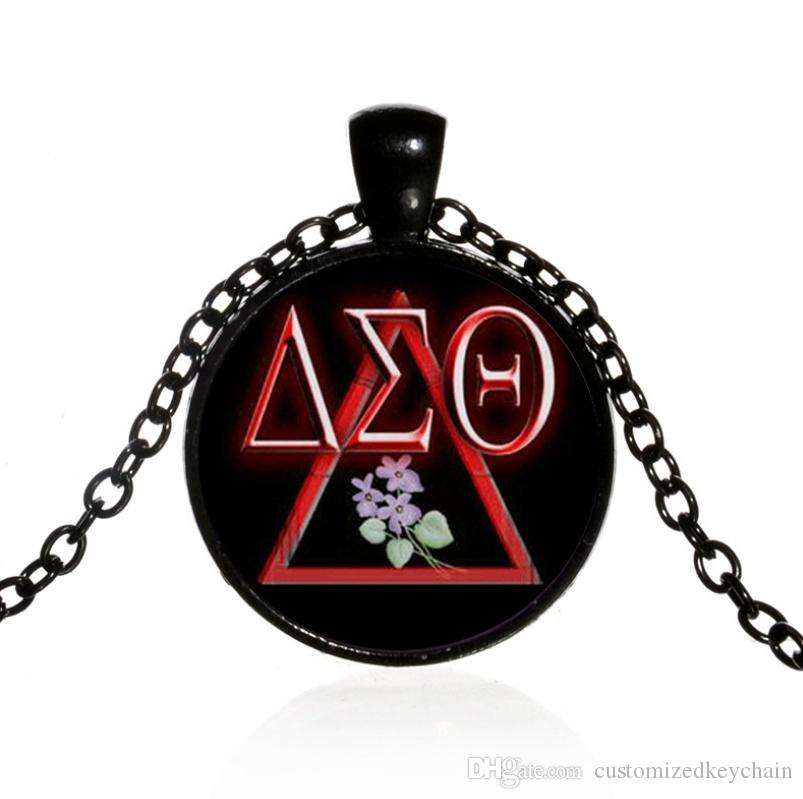 Quote Jewelry Pendant New Women Delta sigma theta Charm Time gemstone pendant chain necklace Jewelry gift time gemstone necklace