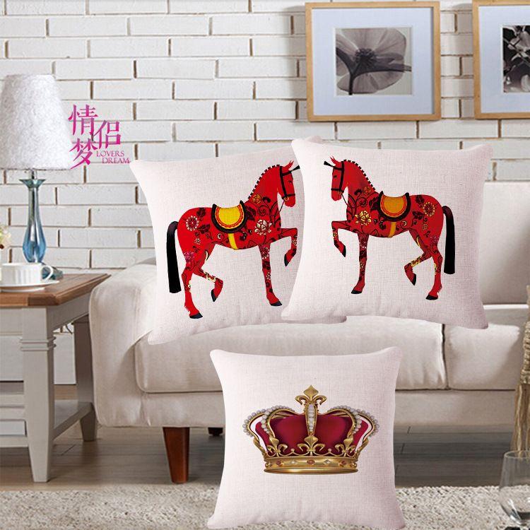 Originality Horse An Crown Cotton Flax Pillow Back Cushion Recruit Agent