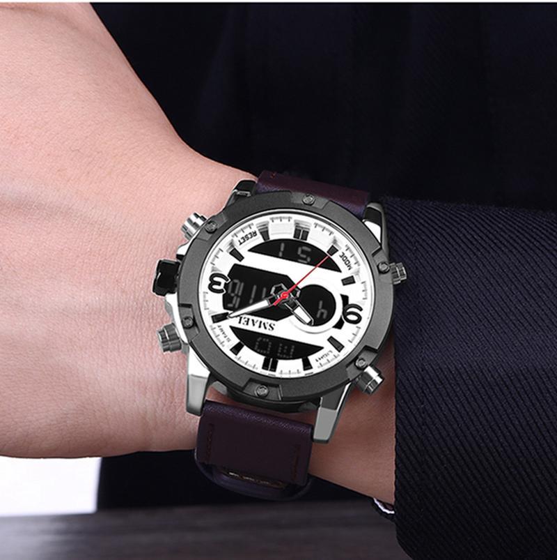 2020 SMAEL New Sport Watches Waterproof Genuine Dual Display Quartz Wristwatches Big Dial Fashion Cool Man 1320 Digital Watch LED Men