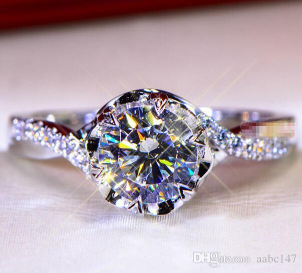 1CT Sólido 925 casamento de prata do aniversário Moissanite SONA diamante anel de noivado BAND moda jóias Homens Mulheres presente dos Valentim