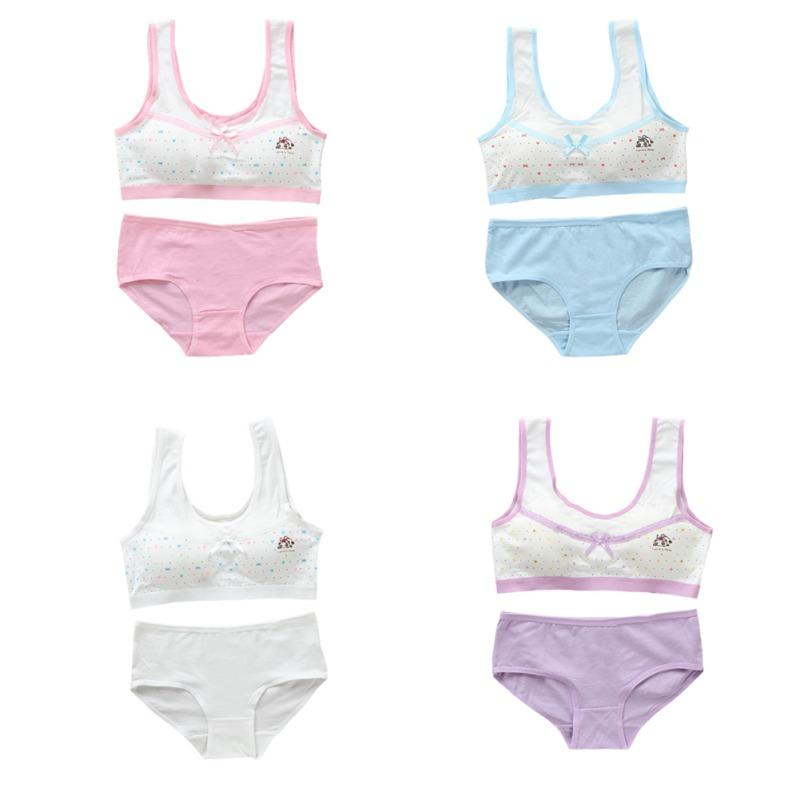 Algodón Camisola Conjunto bragas para tanques de chicas jóvenes ropa interior camiseta de la impresión para chicas adolescentes Formación de la camiseta