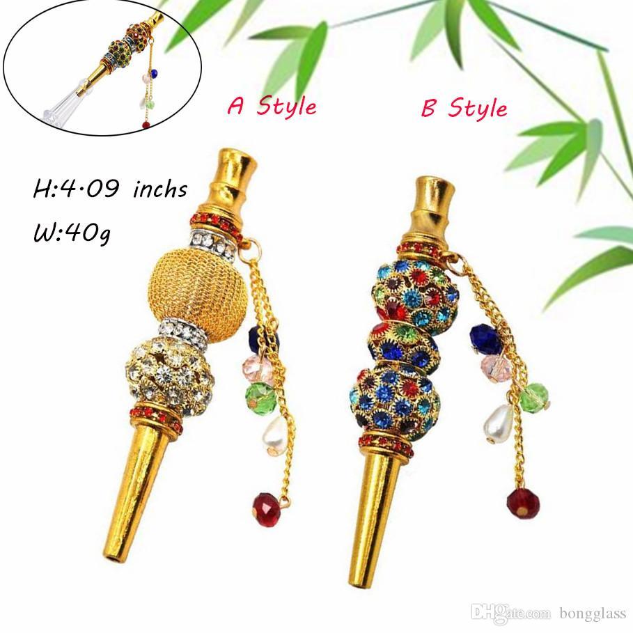 Handmade Alloy Hookah Bocal Dicas colorido diamante Árabe Shisha Narguile filtro fumar narguilé Acessórios Dicas