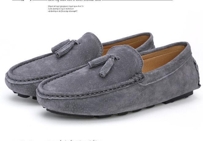 Мужчины натуральная кожа квартиры мужчины случайные мокасины скольжения на унисекс обувь мягкие мокасины удобные качества вождения обувь размер 38~44 dh2a34