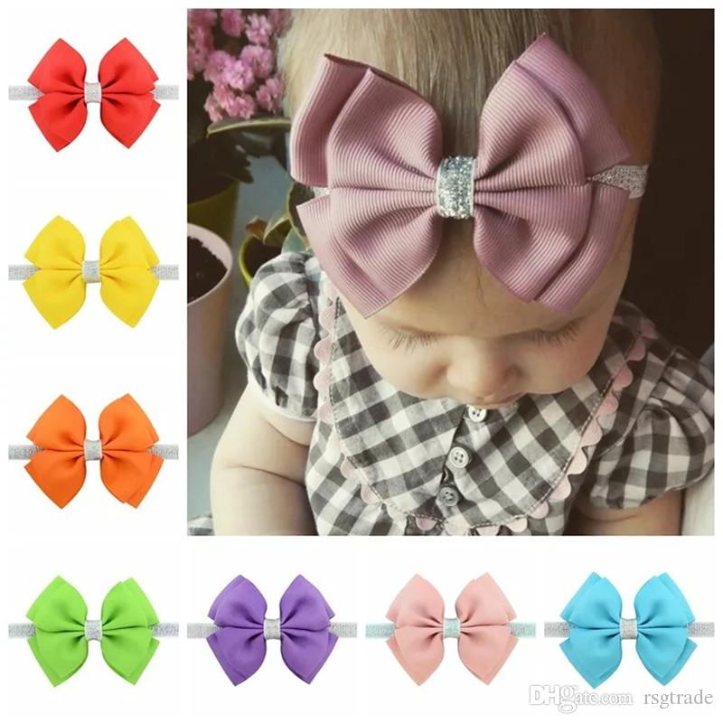 Free DHL New 20 Colors 4inch Baby Headbands Bows Kids Ribbon glitter Elastic Headbands Girls Hair Accessories Double Bowknot Hairband INS