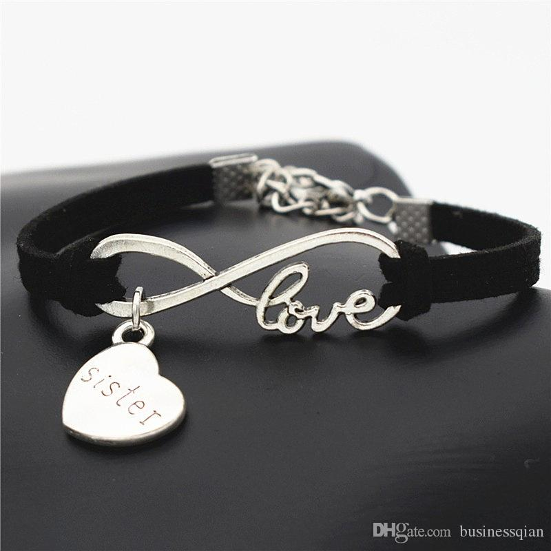 New Vintage Cute Antique Silver Lucky Heart Sister Mom Daughter Charms Infinity Love Leather Bracelet Bangles for Women Men Gift Accessories