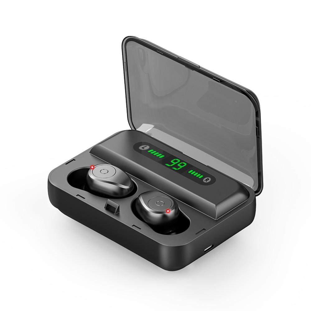 F9 TWS Bluetooth 5.0 Auricolari impermeabili HD Stereo wireless Auricolari senza fili Annullamento del rumore Auricolare da gioco con display a LED Scatola di ricarica