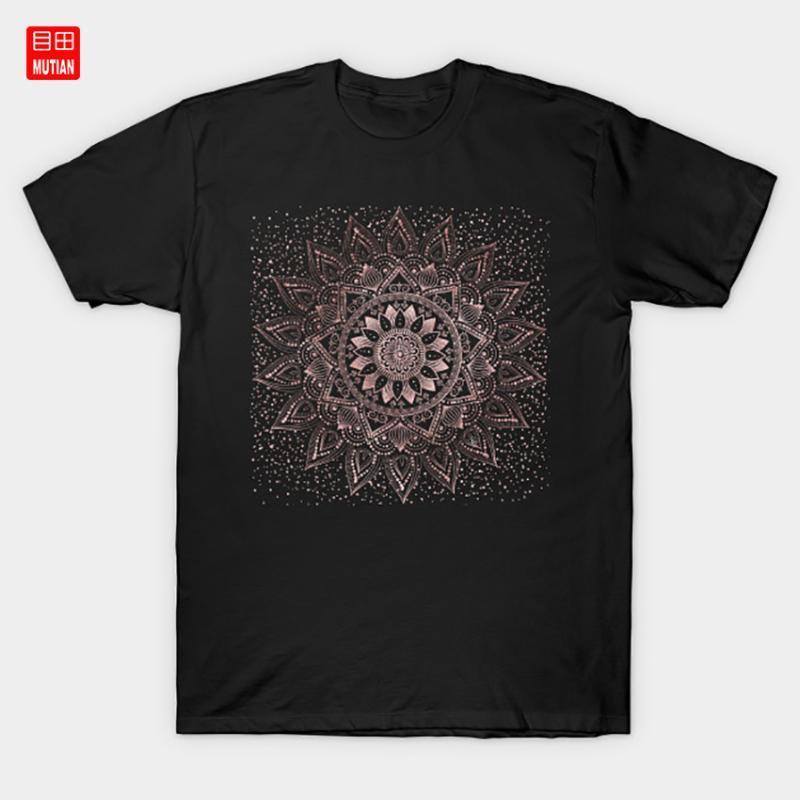 Zarif gül altın mandala noktalar ve mermer sanat Tişört Mermer Kına Çiçek Konfeti Kına Allık Görüntü Tribal Gül Şık