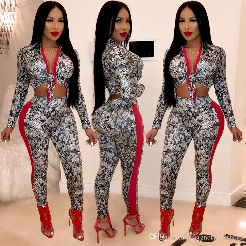 Women's Clothing Two Piece Pants Fashion casual snakeskin long sleeves digital print ladies sexy two-piece suit slim for sale