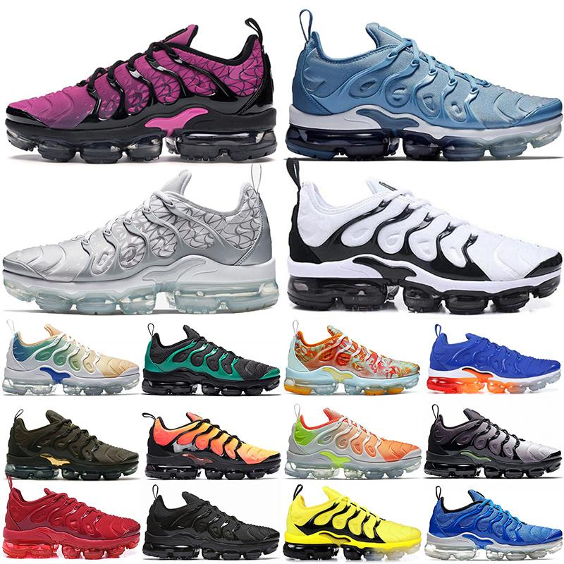 Fashion Hot Cushions Running Shoes TN Plus Geometric Active Fuchsia Black Trainers Tennis Shoes Silver Patterns White Black Sneakers Size 13