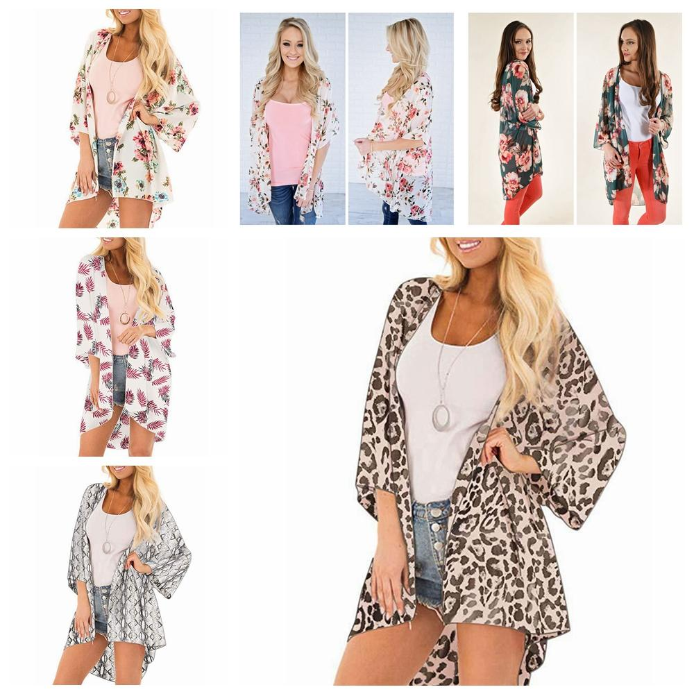Declare Women Casual Floral Long Sleeve Loose Chiffon Cardigan Beach Cover Up Cover-Ups Red