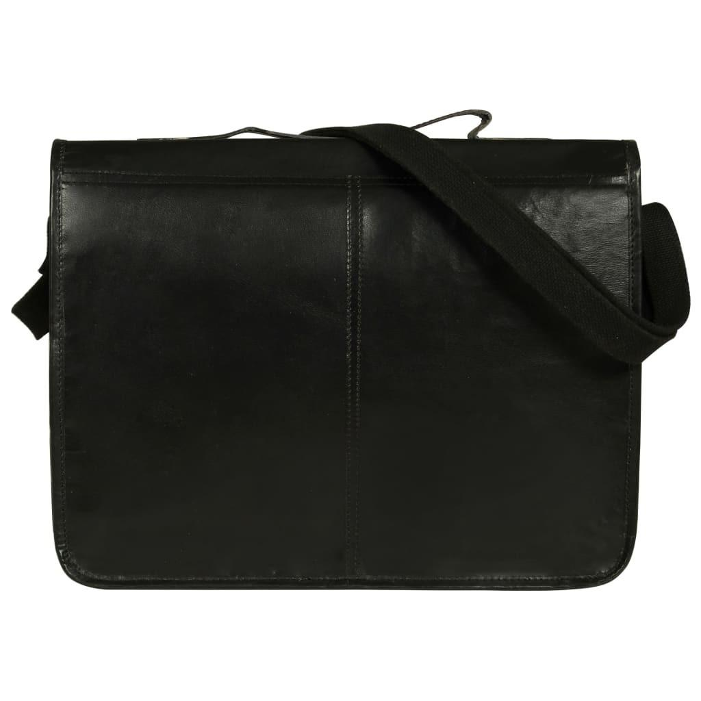Messenger Bag en cuir noir réel