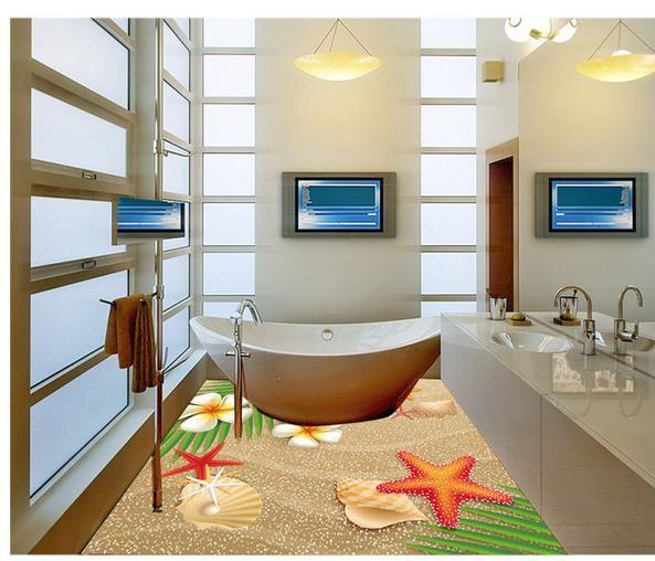 욕실 벽에 대한 해변 해변 쉘 그림 욕실 바닥 방수 벽지