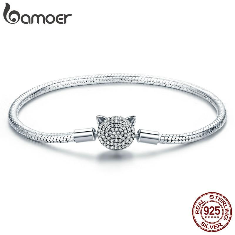 Bamoer 100% 925 Sterling Silver Cute Cat Glittering Cz Snake Strand Chain Bracelets For Women Sterling Silver Jewelry Scb053 Y19051002