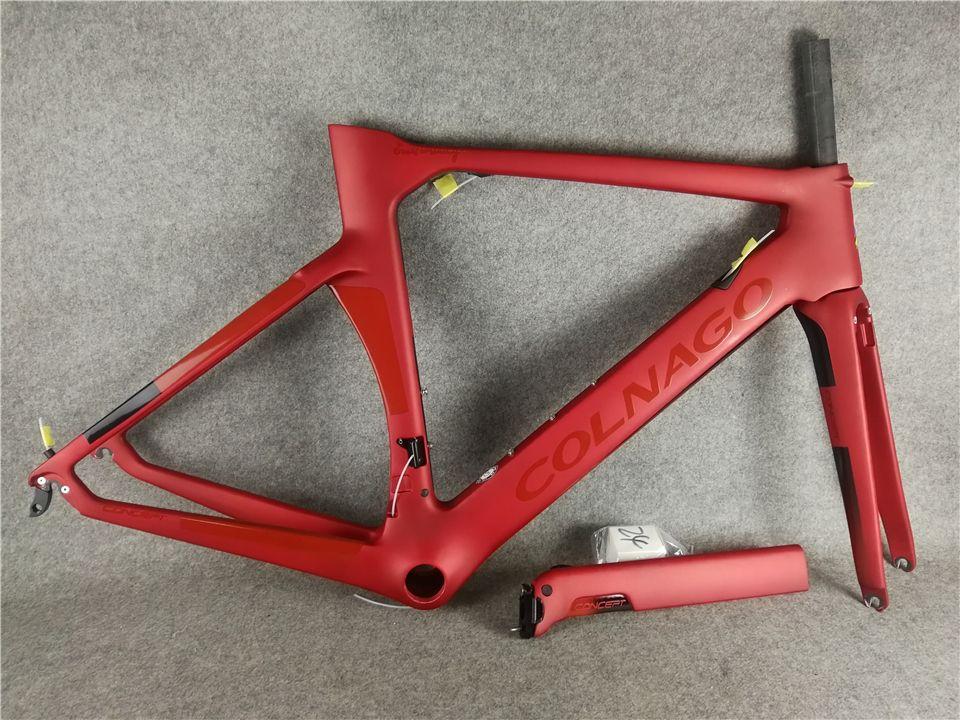 Mat Kırmızı Colnago Konsept Çerçevesi Karbon Frameset Yol Bisikleti Çerçeve Karbon Bisiklet Siyah Renk Tasarım Frameset