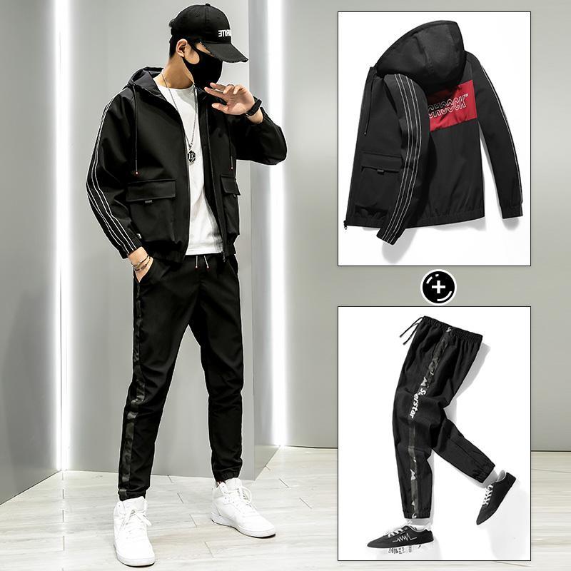 Мужская куртка+брючный костюм спортивный костюм мужской комплект спортивной одежды 2020 Мужская одежда уличная Бегун Весна 2 шт. спортивный костюм комплект плюс размер