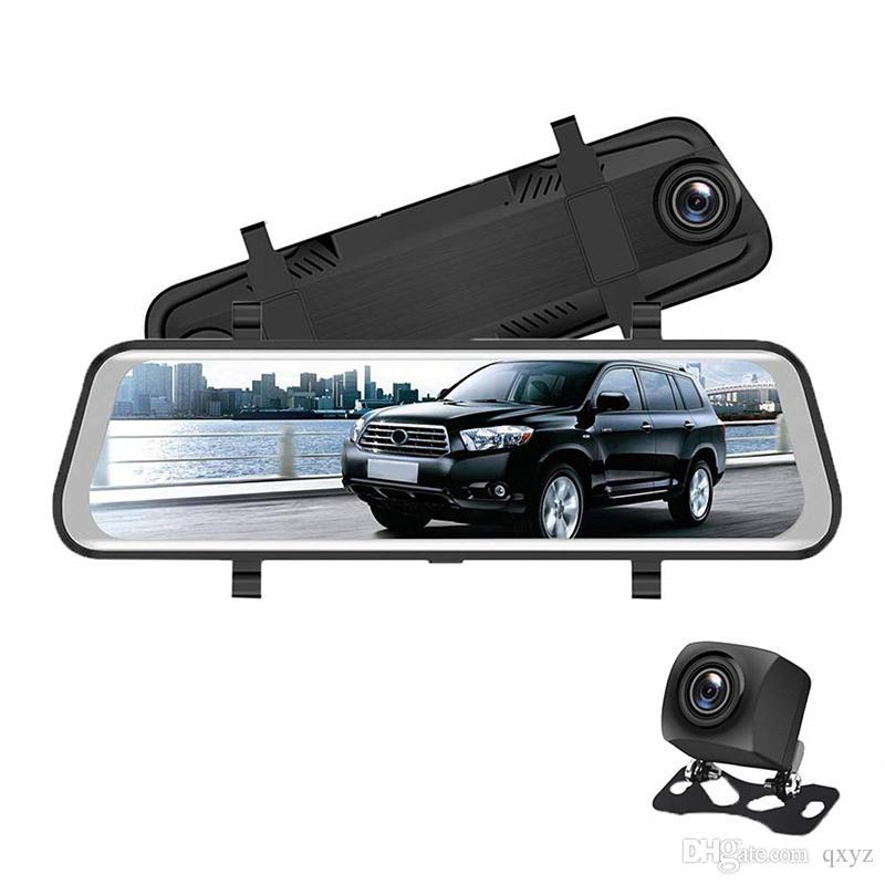 """10 """"شاشة تعمل باللمس تدفق الفيديو سيارة DVR مرآة المركبات مرآة الرؤية الخلفية سيارة داش كاميرا FHD 1080P 2ch الأمامي 170 درجة الخلفي 145 درجة عرض واسع"""