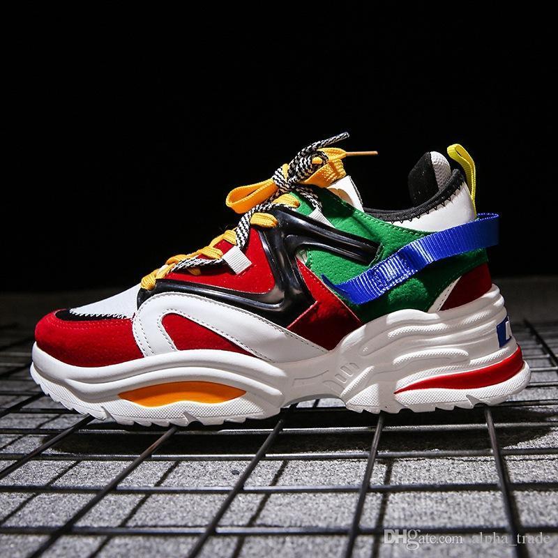 Nouveau unisexe chaussures casual chaussures couple de printemps hommes patchwork de mode Harajuku ulzzang hommes respirant chaussures de sport 35-44