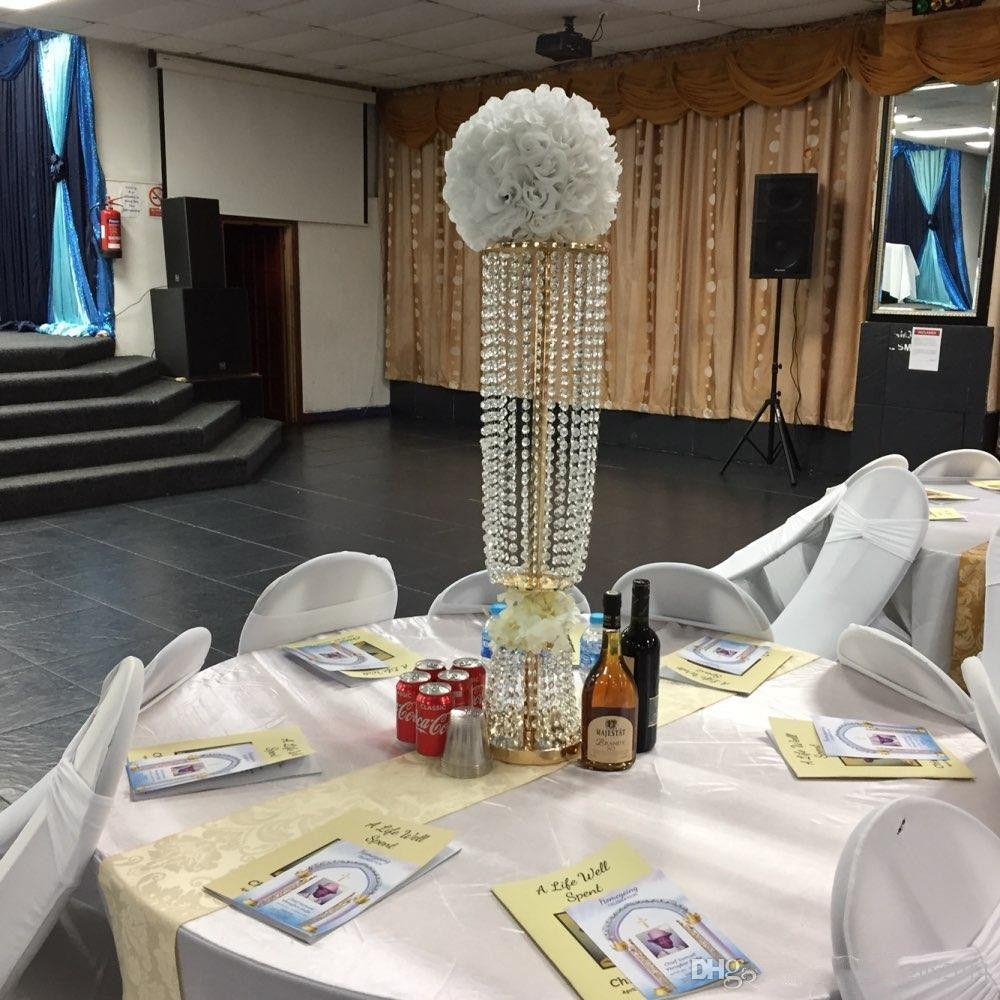 80 cm / 100 cm Akrilik Kristal Düğün Çiçek Top Tutucu Masa Merkezinde Vazo Kristal Şamdan Düğün Dekorasyon Standı