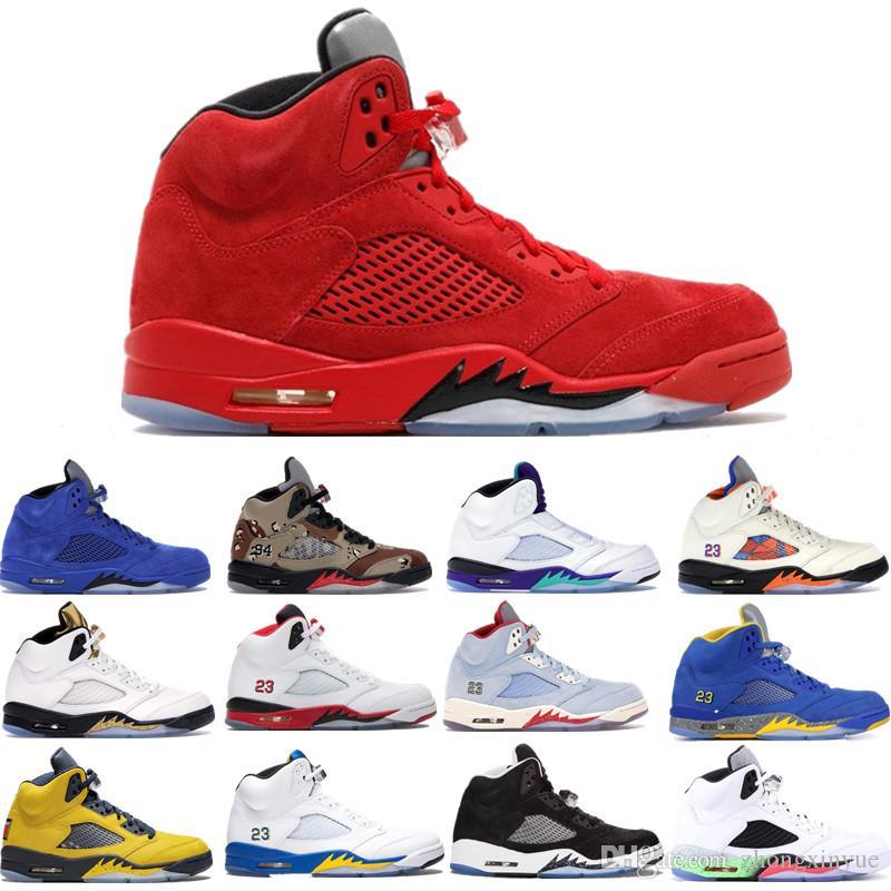 Nuovi 5 5s raso Bred SUP Michigan Ali 3M Fire Red CDP Uomini scarpe da basket internazionale Flight Space Jam di metallo bianco Olimpico Sneakers
