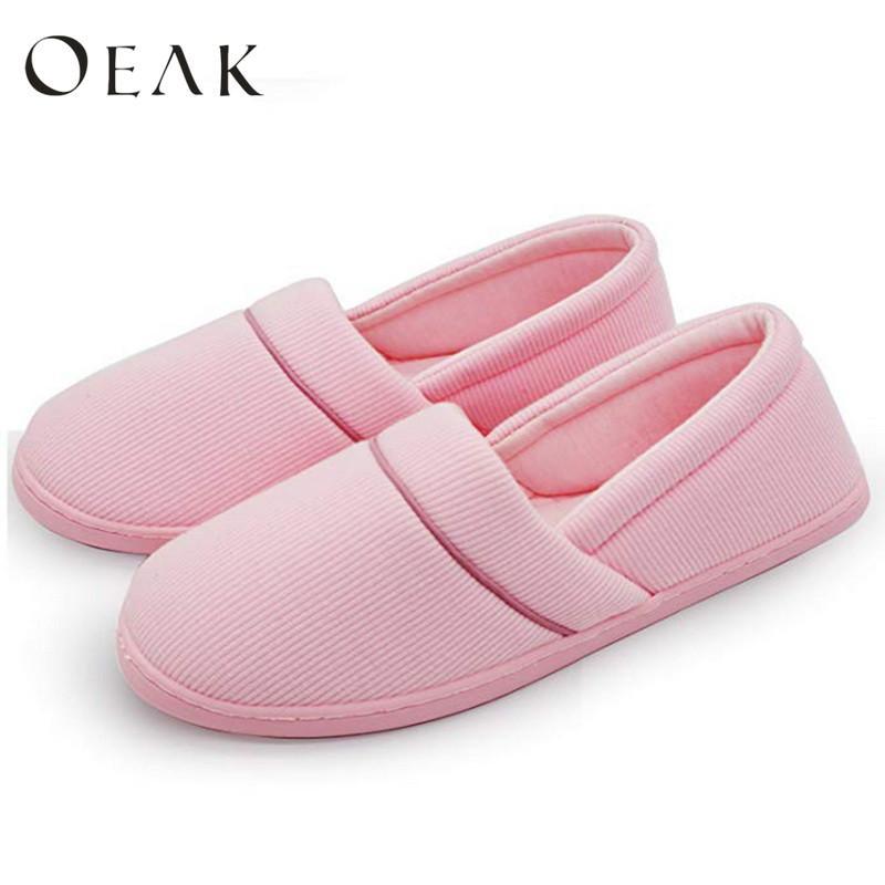 Oeak donne comode Knit cotone Anti-Slip pistone della casa lavabile casa scarpe da donna in gomma morbida Sole Casa