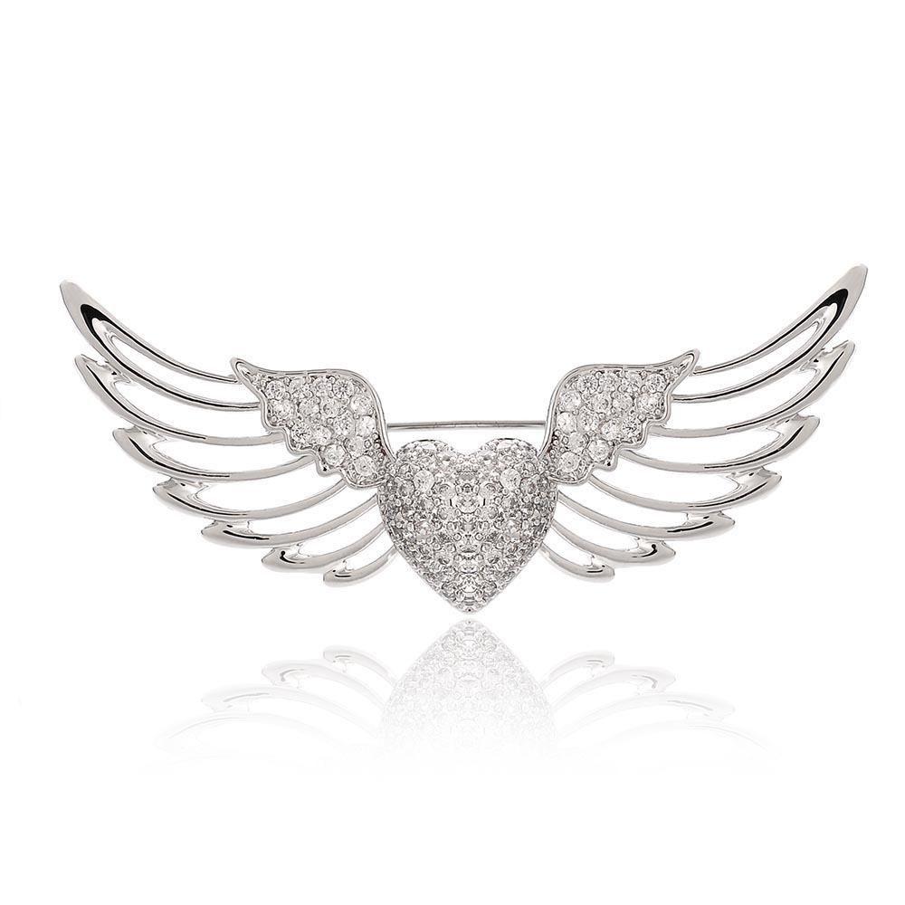 Europa e nos Estados Unidos incrustados zircão anjo asa asas broche de colarinho, produtos high-end pin broche de jóias