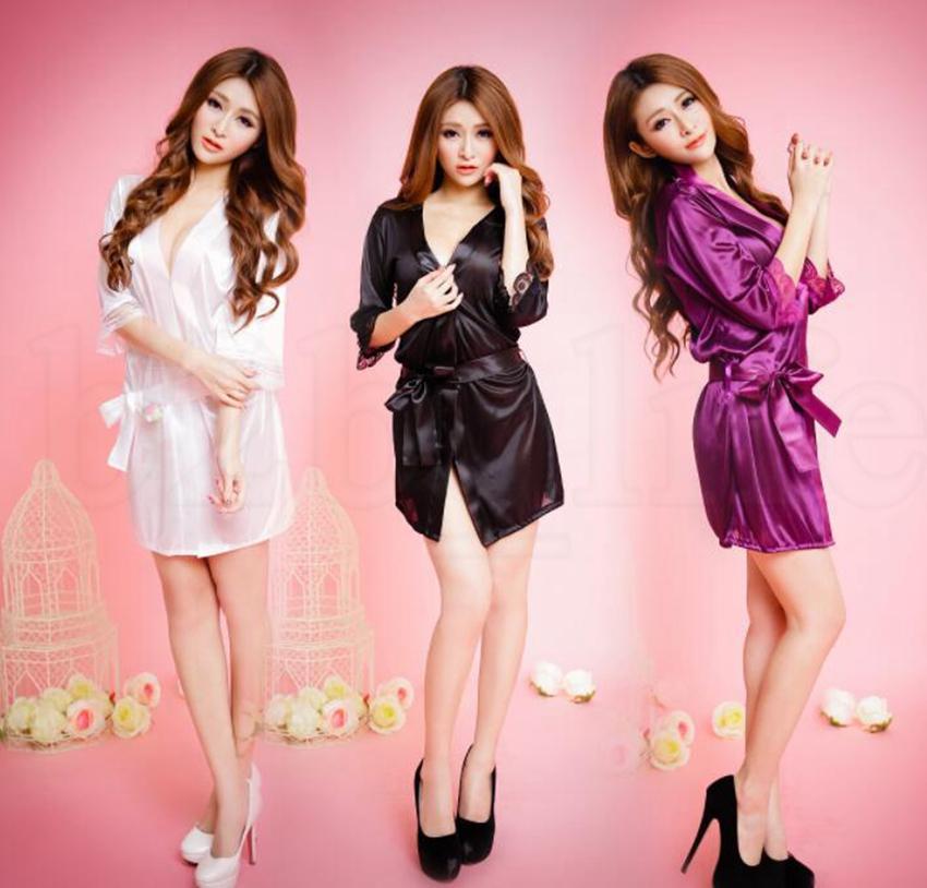 Fashion-Silk Robes transparency plain Color Sleepwear Silk Robe Bath Gown Sleepwear Nightwear Bath Sleep Robes Dress LJJK1131