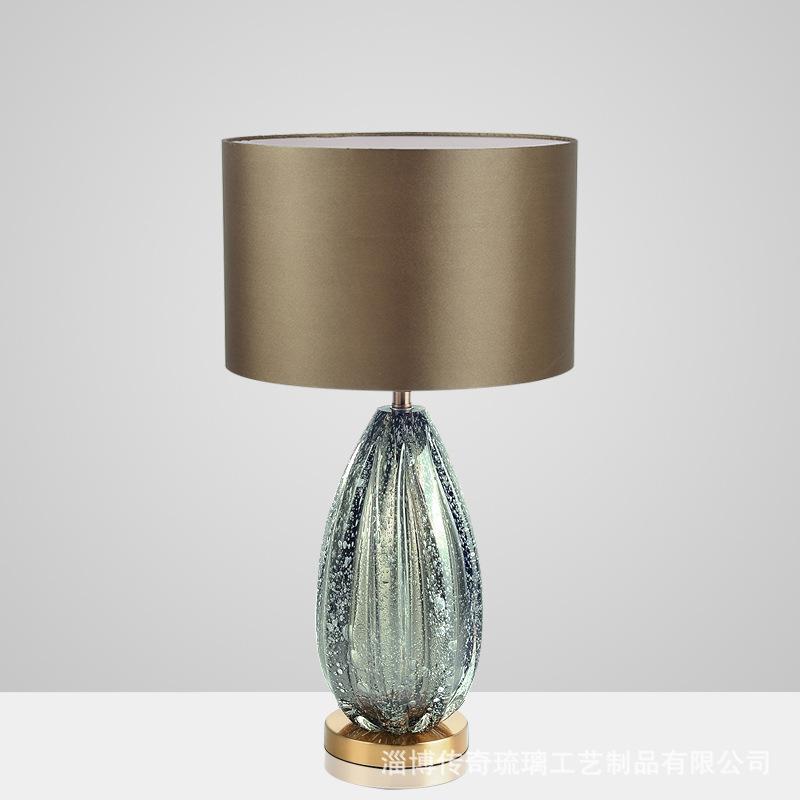 السرير LED الحديثة الجدول مصباح الأمريكية بسيط رمادي الزجاج الأخضر ضوء الجدول للنوم فيلا غرفة المعيشة مصباح الإبداعية