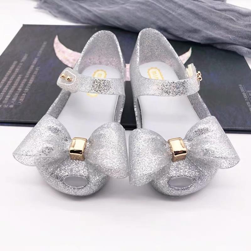 Mini Melissa 2019 Yaz Bebek Kız Sandalet Papyon Çocuk Ayakkabı PVC Deri Küçük Çocuk Sandalet Prenses Kız Ayakkabı Y200103