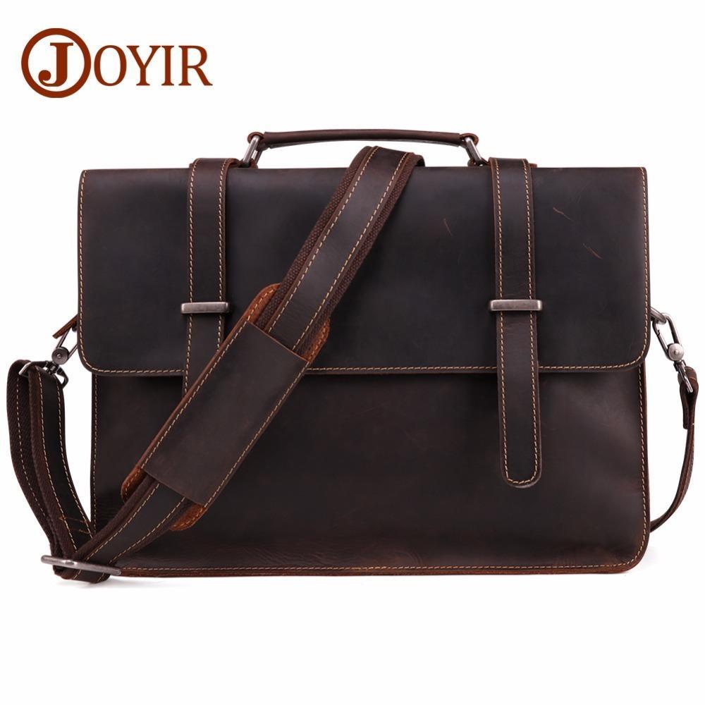 Men's Briefcase Vintage Real Crazy Horse Leather satchel Messenger Shoulder Bag Business Laptop Handbag For Male document bags Free shipping