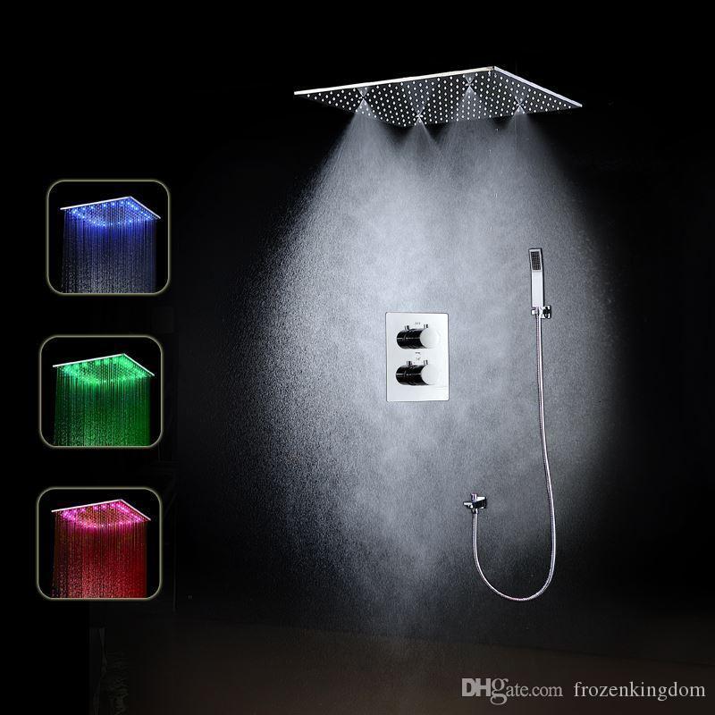 천장 온도 조절 장치 샤워 세트 20 인치 강우량 안개 수력 전원 빛 샤워 헤드 센서 온도 조절 밸브 161222 # 161225