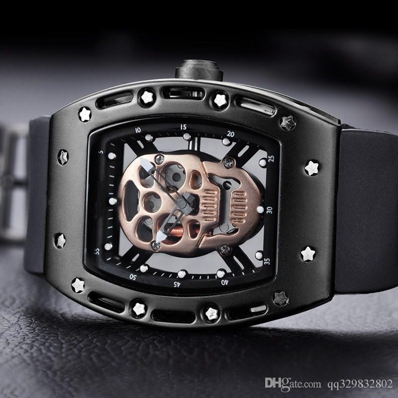 44mm büyük patlama kol saati gündelik erkek altın basit iskelet geniş kafatası moda erkek tasarımcı izlemek kuvars kauçuk Kayış saat Yeni marka seyretmek