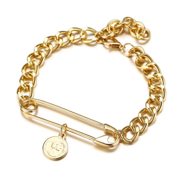 Vintage Retro Fashion Jewelry Accessorines Beauty Avatar Stamp Coins Paperclip Pin Warp Gold Metal Chains Bracelets Charm Bangles For Women