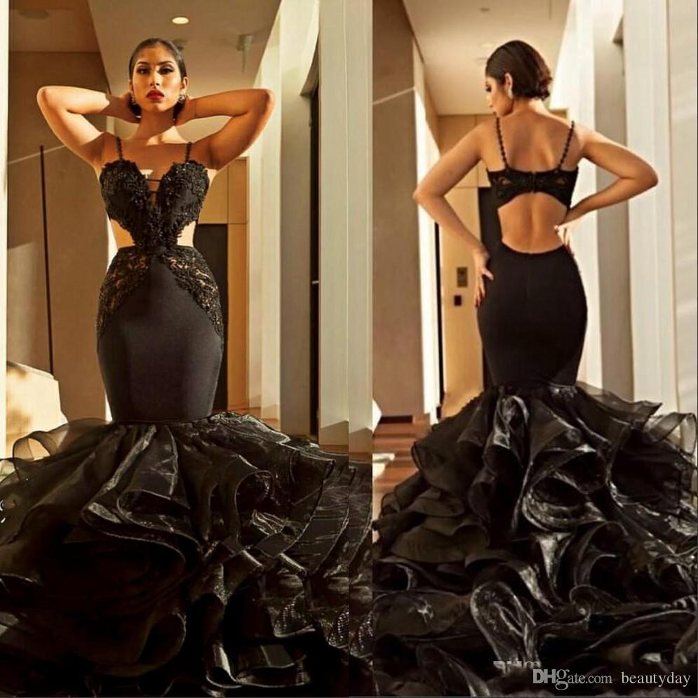 Sexy preto Sereia Prom Dresses 2019 Novo projeto Spaghetti Cutaway Lados vestidos de noite com Tulle Ruffles Tapete Vermelho Festa Train