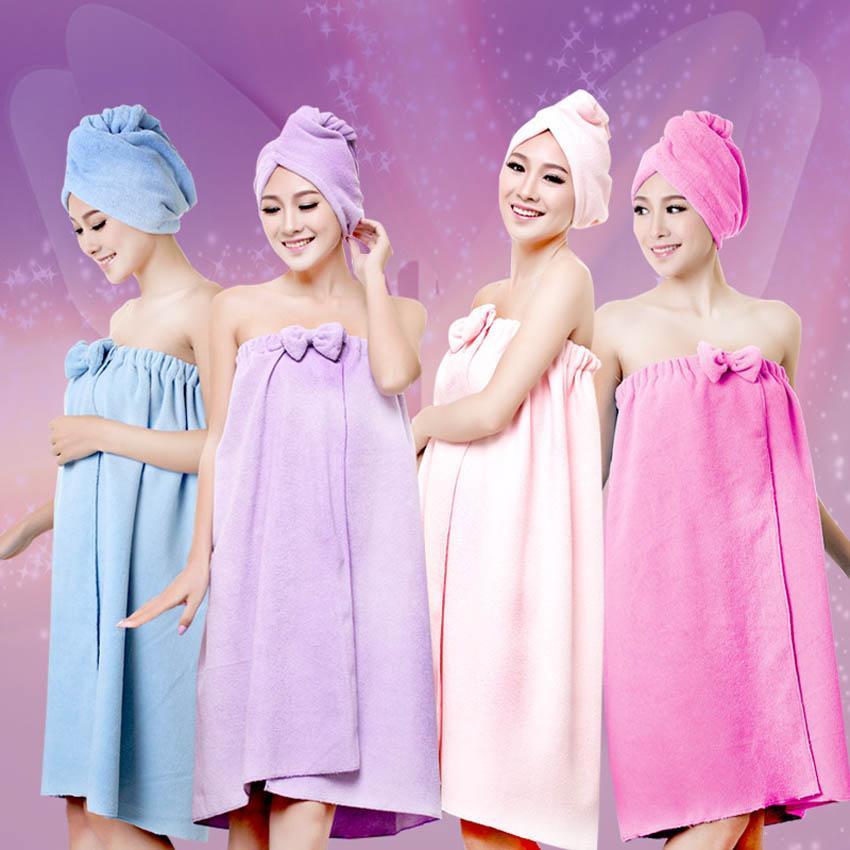 Bath Shower Towels Women 145x75cm Magic Bath Microfiber Plain Towel Skirt Dry Hair Cap Toalla Serviette De Plage