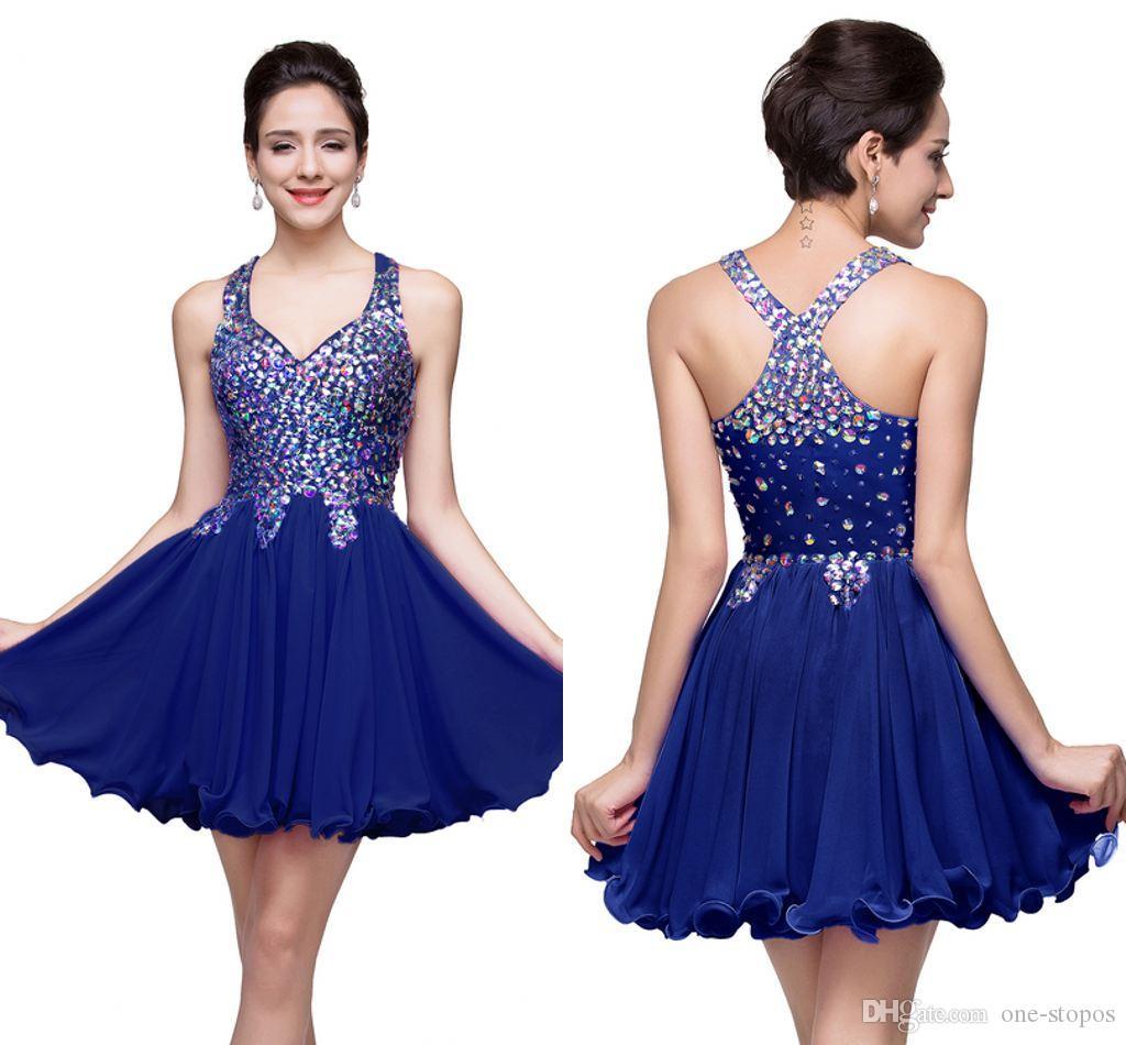 로얄 블루 Shinny Crystals 짧은 홈 커밍 드레스 A 라인 Appliqued Backless 칵테일 파티 드레스 미니 댄스 파이프 가운 이브닝 클럽 CPS168